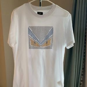White Fendi crystal embellished shirt